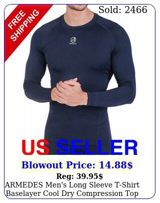 armedes men's long sleeve tshirt baselayer cool dry compression top a