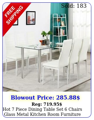 hot piece dining table set chairs glass metal kitchen room furniture whit