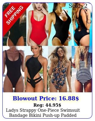 ladys strappy onepiece swimsuit bandage bikini pushup padded bathing swimwea