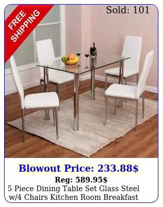piece dining table set glass steel w chairs kitchen room breakfast furnitur