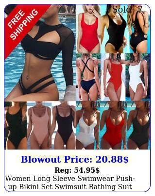 women long sleeve swimwear pushup bikini set swimsuit bathing suit beachwea