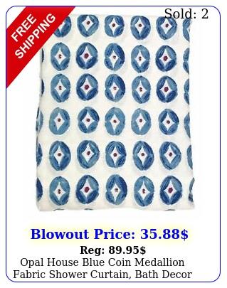 opal house blue coin medallion fabric shower curtain bath deco