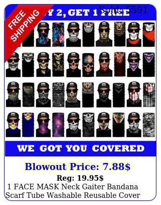 face mask neck gaiter bandana scarf tube washable reusable cover shield skul