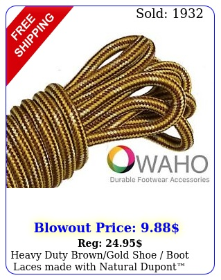 heavy duty browngold shoe boot laces made with natural dupont kevla