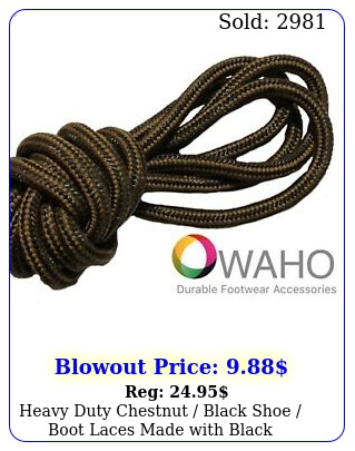 heavy duty chestnut black shoe boot laces made with black dupont kevla