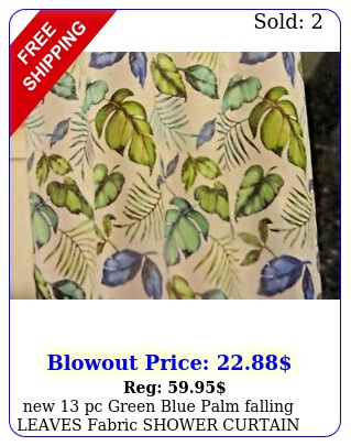 pc green blue palm falling leaves  fabric shower curtain leaf hook