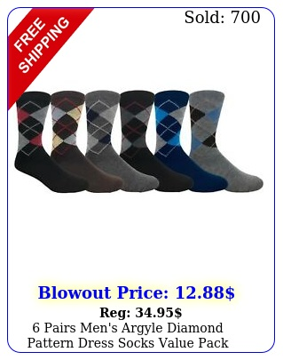 pairs men's argyle diamond pattern dress socks value pac