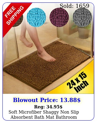 soft microfiber shaggy non slip absorbent bath mat bathroom shower rugs carpe