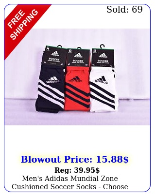 men's adidas mundial zone cushioned soccer socks choose color siz