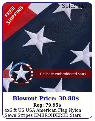 x ft us usa american flag nylon sewn stripes embroidered stars brass grommet
