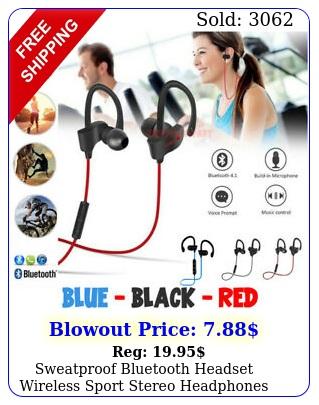 sweatproof bluetooth headset wireless sport stereo headphones earphone earbud