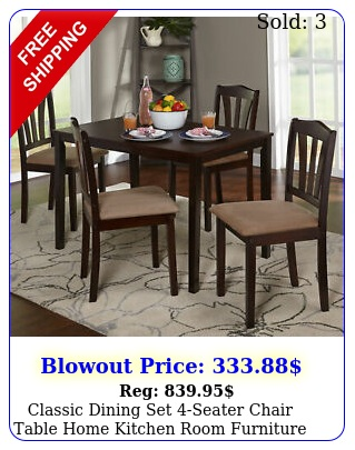 classic dining set seater chair table home kitchen room furniture piec