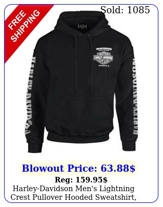 harleydavidson men's lightning crest pullover hooded sweatshirt blac