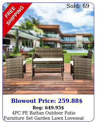 pc pe rattan outdoor patio furniture set garden lawn loveseat sofa wicke