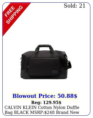 calvin klein cotton nylon duffle bag black msrp brand with ta