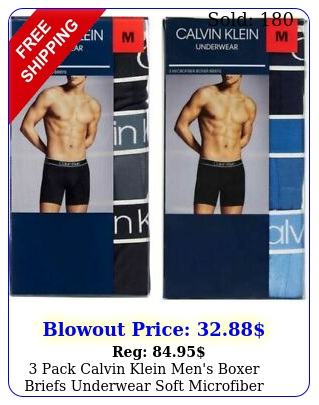 pack calvin klein men's boxer briefs underwear soft microfibe