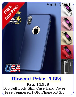 full body slim case hard cover free tempered iphone xs xr max s plu