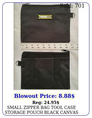 small zipper bag tool case storage pouch black canvas tote belt loops zip ki