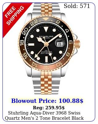 stuhrling aquadiver swiss quartz men's tone bracelet black dial watc