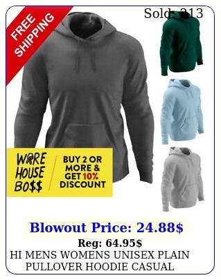 hi mens womens unisex plain pullover hoodie casual hooded sweatshirt activ
