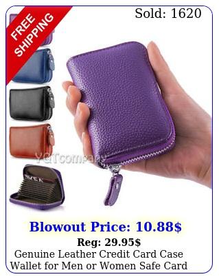 genuine leather credit card case wallet men or women safe card blockin