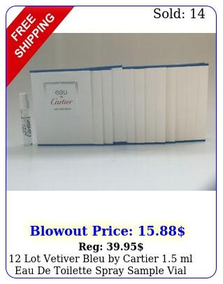 lot vetiver bleu by cartier ml eau de toilette spray sample via