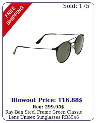 rayban steel frame green classic lens unisex sunglasses r