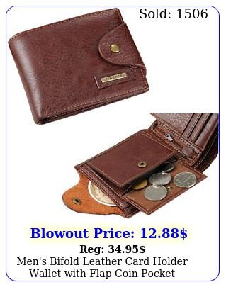 men's bifold leather card holder wallet with flap coin pocket convenient purs