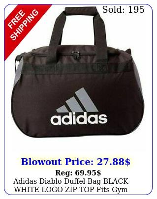 adidas diablo duffel bag black white logo zip top fits gym locker smal
