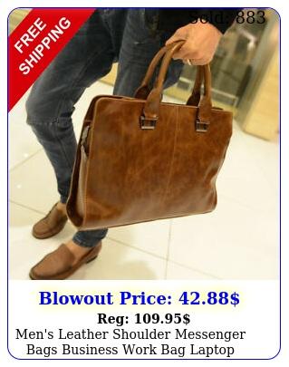 men's leather shoulder messenger bags business work bag laptop briefcase handba