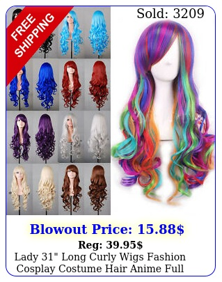 lady long curly wigs fashion cosplay costume hair anime full wavy party wi