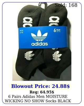 pairs adidas men moisture wicking no show socks black white trefoil larg