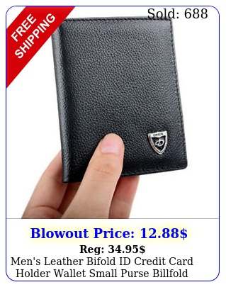men's leather bifold id credit card holder wallet small purse billfold thi