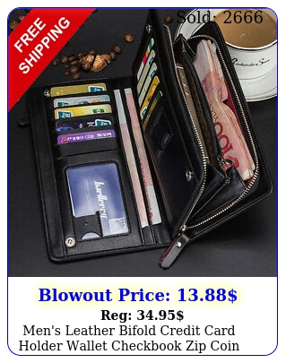 men's leather bifold credit card holder wallet checkbook zip coin purse clutc