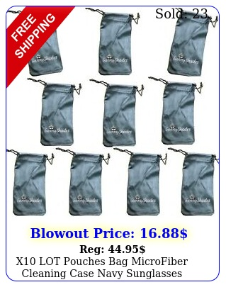x lot pouches bag microfiber cleaning case navy sunglasses eyeglasses glasse