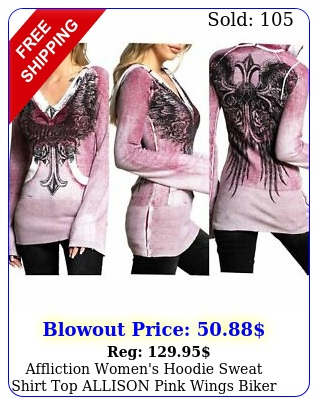 affliction women's hoodie sweat shirt top allison pink wings bike