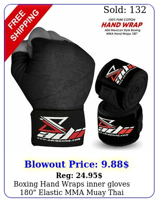 boxing hand wraps inner gloves elastic mma muay thai bandage pair blac