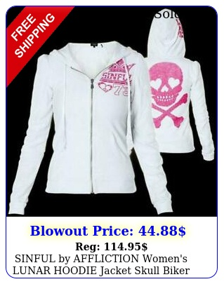 sinful by affliction women's lunar hoodie jacket skull biker pink wing