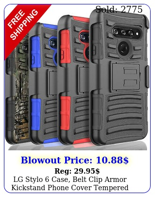 lg stylo case belt clip armor kickstand phone cover tempered glass protecto