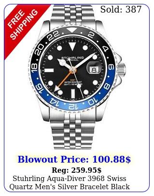 stuhrling aquadiver swiss quartz men's silver bracelet black dial watc