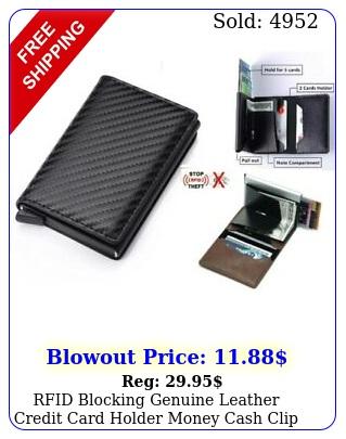 rfid blocking genuine leather credit card holder money cash clip wallet purs