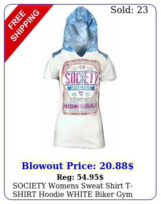 society womens sweat shirt tshirt hoodie white biker gy