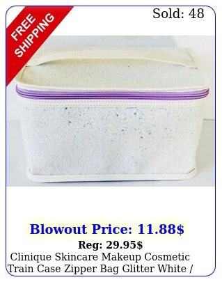clinique skincare makeup cosmetic train case zipper bag glitter white purpl