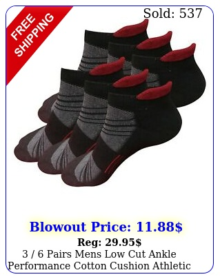pairs mens low cut ankle performance cotton cushion athletic running sock