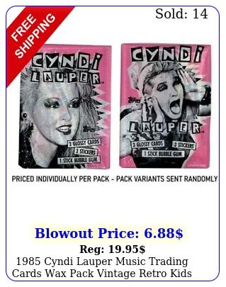 cyndi lauper music trading cards wax pack vintage retro kids toys gu