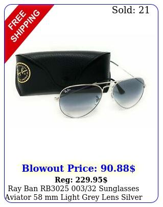ray ban rb sunglasses aviator mm light grey lens silver fram