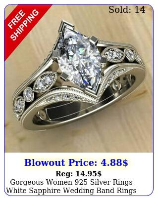 gorgeous women silver rings white sapphire wedding band rings us siz