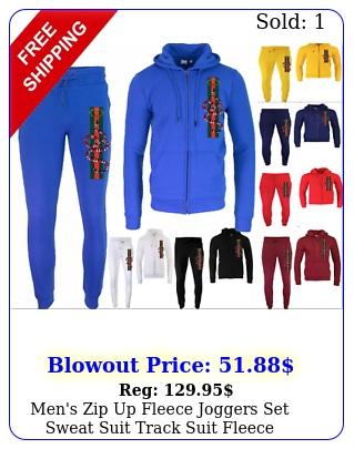 men's zip up fleece joggers set sweat suit track suit fleece sweatsuit fashio