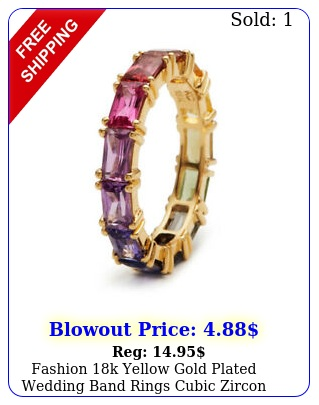 fashion k yellow gold plated wedding band rings cubic zircon ring us siz