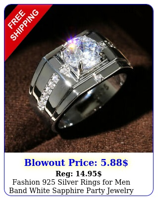 fashion silver rings men band white sapphire party jewelry us siz